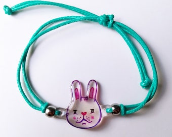Bunny bracelet - Hand made and hand drawn