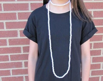 Long wrap pearl necklace