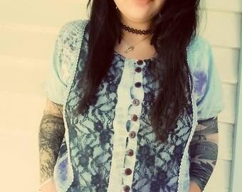 Hippy lace + velvet Crop Top -m/l-