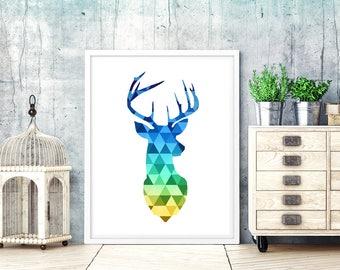 Deer print. geometric deer print. blue deer head print. deer printable. geometric deer. scandinavian print. deer wall art print. printable
