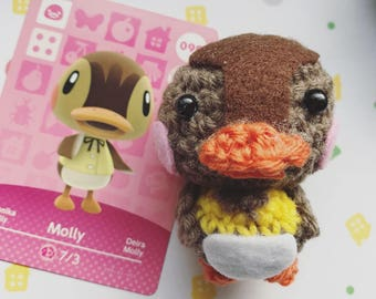 Animal Crossing villager Molly, crocheted duck, Amigurumi, figurine, kawaii, presentidea, New Leaf, Wild World, presentidea