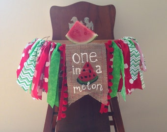 Red Watermelon First Birthday High Chair Banner/One in a Melon/Sweet to be One/Cake Smash/Photo Shoot Prop/Party Decor/Summer Theme/Girl