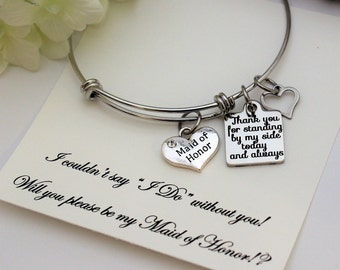 MAID OF HONOR Proposal, Maid of Honor Bracelet , Will you be My Maid of Honor, Adjustable Stainless Steel Bracelet Maid of Honor Gift