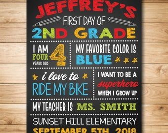 First Day of School Chalkboard - First Day of School Sign - Back to School Sign - Personalized Back To School - 1st Day of School Chalkboard