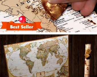 World Map, Scratch Off Map, Travel Map, World Map Poster, World Map Wall Art, Push Pin Travel Map, Map Of The World, Scratch Off, Scratch Tr