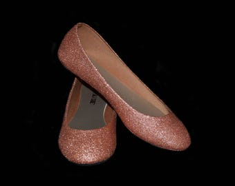 Wedding shoes Rose Gold wedding shoes champagne shoes rose flats rose gold  flat shoes bridal shoes gold shoes custom shoes glitter