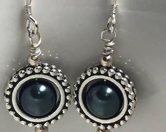 Swarovski Tahitian Pearl Sterling Silver and Silver Plated Earrings, Pearl Earrings, Sterling Silver Earrings, Swarovski Earrings, Handmade