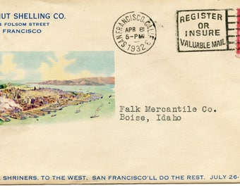 Two Sided Advertising Cover Sunset Nut Shelling Co. , Postmark San Francisco, CA, 1932, 2 Cent Stamp Washington image, <>#PSY-1232