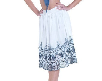White Cotton Lace Skirt