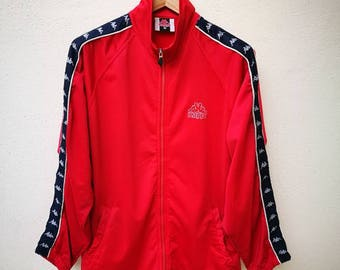 Very Rare!!! Vintage 90s Kappa Sweater Tracksuit Allover Print Patches Kappa Big Logo Embroidery Excellent Like New Stripes Red Color Size M