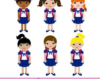 Girls with school uniform and backpack. Vector Illustration