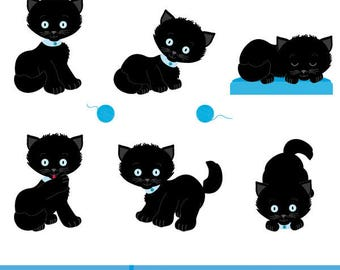 Black  kittens in different poses, Children's illustration, children's illustration black  kittens, vector illustration black  kittens