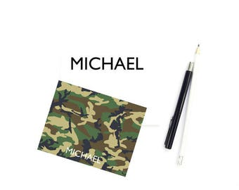 Camo Stationary Note Cards for Boys, Personalized Stationary Boys, Personalized Stationery Boys, Boys Note Cards, Camp Note Cards, SET of 10