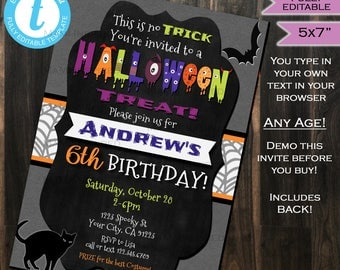 Halloween Birthday Party Invitation - Any Age - Kids Party Invite Costume Party - Bats Cats Printable Custom DIY INSTANT Self EDITABLE 5x7