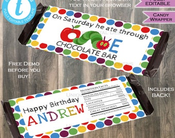 Hungry Caterpillar Candy Bar Wrapper Chocolate Bar Label First Birthday Caterpillar theme decoration Printable INSTANT Self Editable 1.55oz