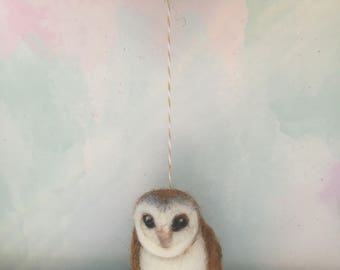 Owl/Barn Owl/Needle Felted Owl/Ready to Ship/ Valentine Gift/Owl Gift/Owl Lover Gift/Wool Owl/Owl Ornament/Xmas Tree Owl Ornament