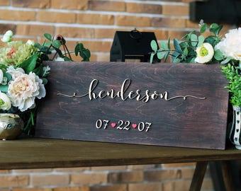 Wedding Last Name Sign, Personalized Family Sign, Established Sign, Wood Name Sign, Wedding gift, Anniversary gift, Wedding Family Name Sign