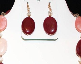 Dk red quartz earrings