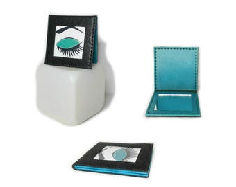 Original Pocket mirror - mirror turquoise blue leather bag