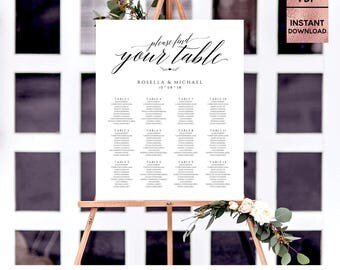 Find Your Table Template, Printable Wedding Seating Sign, Marsala Seating Chart Poster, Seating Plan Board, Editable PDF, Digital Download