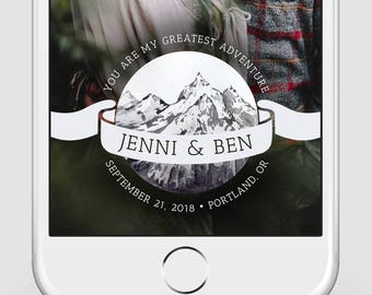 Custom Snapchat Geofilter | Wedding Snapchat Geofilter | You Are My Greatest Adventure | Watercolor Snapchat Filter