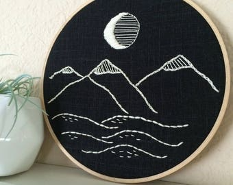 mountains embroidery hoop
