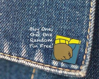 BUY 1, GET 1 Random Pin Free! Arthur's Fist Meme Enamel Pin Fist Lapel Pin Arthur Pin Badge Internet Meme Enamel Pin Hard Enamel Funny Pin
