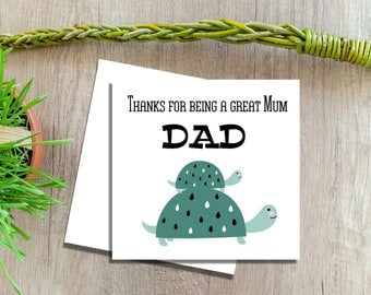 Mothers Day Card For Dad, Tortoise Cards, Card For Dad on Mothers Day