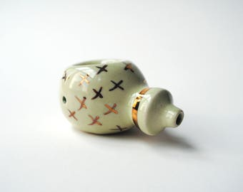 Handmade Ceramic Pipe with Gold Luster Decorations