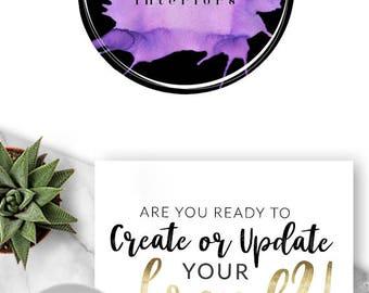 LOGO, Premade Logo, Design, Branding, Blog Header, Photography, Business, Boutique, Website, Purple, Splatter, Paint, Artist, 541
