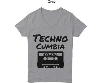 S - 2X V-Neck Women's Techno Cumbia T-Shirt Cute Selena Quintanilla Techno Cumbia Tee