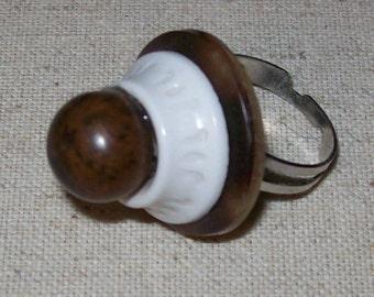 Vintage Tortoise Button Ring