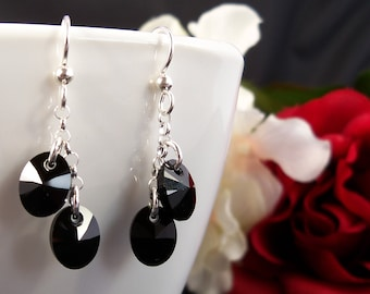 Black Swarovski Earrings, Jet Black Crystal and Sterling Silver Jewelry
