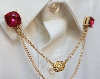 Pink Crystal Collar Chain Set