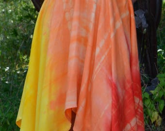 Sundress / Handkerchief-Style Dress / Halter Top Dress / Orange & Yellow Dress / Tie-Dye Dress