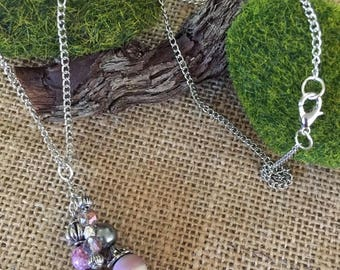 Pink and Silver Cluster Necklace