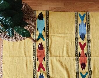 Large Native American yellow fish motif saltillo blanket | kids room rug | Mexican blanket | falsa blanket | children's room play room