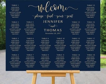 Wedding seating chart template, Wedding seating chart, wedding seating chart alphabetical, Navy seating chart, seating chart poster, #107
