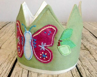 Embroidered Butterfly Crown, Kids Crown, Waldorf Crown, Birthday Crown, Play Crown, Dress Up Crown, Toddler Crown, Felt Crown, Fabric Crown