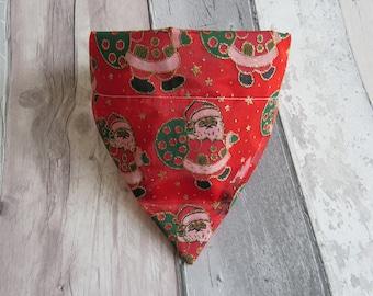 Glitter Santa Christmas Dog Bandana, dog accessories, slip on bandana, pet accessories, detachable bandana, collar accessory