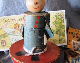 Vintage 1920s large roly poly toy painted wooden sailor on wobble base