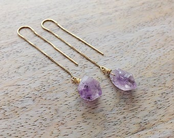 Ear Threader Earrings Raw Purple Amethyst Earrings February Birthstone Earrings Gold Ear Thread Long Earrings Minimal Jewelry Amethyst Rough