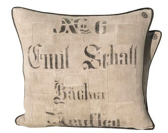 Antique German Grain Sack Pillow from 1927 -  23 x 21""