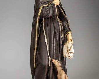 "RARE 14"" Antique Saint Margaret of Cortona Polychromed Plaster Statue Vintage St Margaretha"