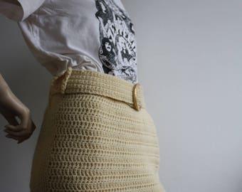 Vintage 1970s Crochet Wool Fringed Maxi Skirt