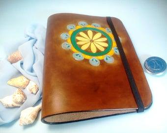Mandala Hand Carved Leather Notebook 6 Rings Binder Moleskin Leather Refillable Journal Vegetable Tanned Leather Yoga gift Gift for artist