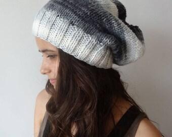 SALE Knit Hat, Slouchy Beanie, Women's Hat Grey Knit Hat Women Beanie Hat Slouchy Hat Knitted Hat Winter Hats for Women