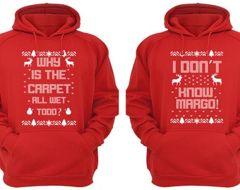 Free Shipping Why is the Carpet All Wet Todd Don't Know Margo Ugly Christmas Sweater Men Women Hoodies Red