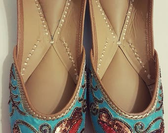 Blue lovebirds sequins Punjabi Juttis Khussas Ballerinas shoes flats bridal party wear gypsy boho