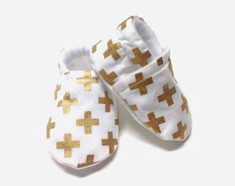 Cross Gold Baby shoes, baby shoes girl, soft sole, baby booties, baby boots, toddler shoes, baby girl shoes, baby moccasins, white blingy